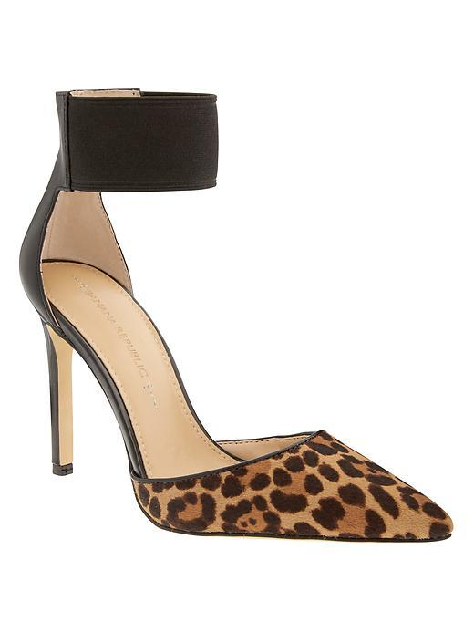 Malory Elastic Strap Pump Natural/Black - secondary colour: camel; predominant colour: black; occasions: evening, occasion, creative work; material: leather; heel height: high; ankle detail: ankle strap; heel: stiletto; toe: pointed toe; style: courts; finish: plain; pattern: animal print; season: s/s 2015; wardrobe: highlight