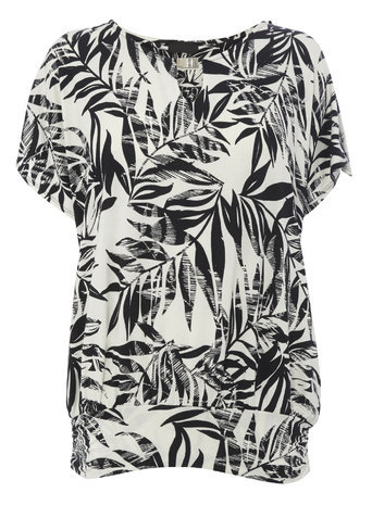 Womens Black/White Leaf Print Top, Black/White - neckline: round neck; secondary colour: white; predominant colour: black; occasions: casual, evening, holiday, creative work; length: standard; style: top; fibres: viscose/rayon - stretch; fit: body skimming; sleeve length: short sleeve; sleeve style: standard; pattern type: fabric; pattern: patterned/print; texture group: jersey - stretchy/drapey; season: s/s 2015; pattern size: big & busy (top); wardrobe: highlight