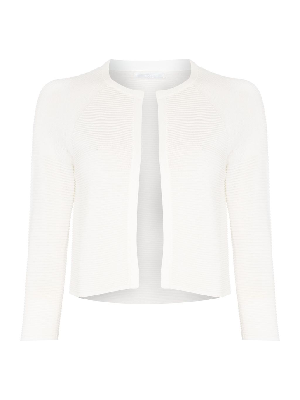 Faria Cropped Bolero Cardigan, Cream - pattern: plain; style: bolero/shrug; length: cropped; neckline: collarless open; predominant colour: ivory/cream; occasions: casual, evening, occasion, creative work; fibres: viscose/rayon - stretch; fit: standard fit; sleeve length: 3/4 length; sleeve style: standard; texture group: knits/crochet; pattern type: knitted - fine stitch; season: s/s 2015; wardrobe: basic