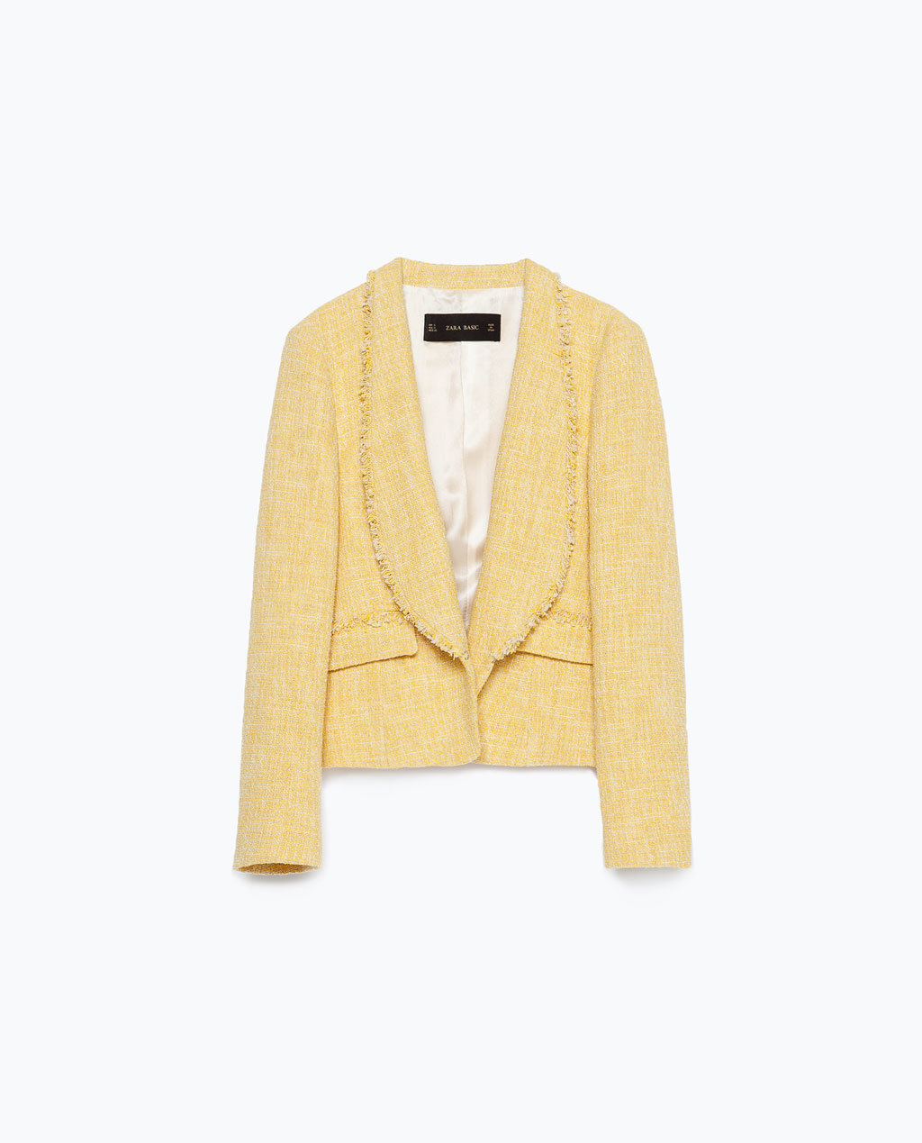 Frayed Short Blazer - pattern: plain; style: single breasted blazer; collar: shawl/waterfall; predominant colour: primrose yellow; occasions: casual, work, creative work; length: standard; fit: straight cut (boxy); fibres: cotton - mix; sleeve length: long sleeve; sleeve style: standard; collar break: low/open; pattern type: fabric; texture group: woven light midweight; season: s/s 2015