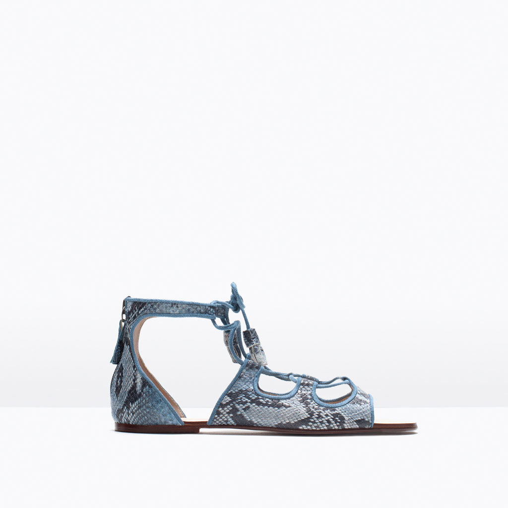 Flat Printed Roman Sandals - predominant colour: royal blue; secondary colour: pale blue; occasions: casual; material: faux leather; heel height: flat; heel: standard; toe: open toe/peeptoe; style: standard; finish: plain; pattern: animal print; season: s/s 2015; wardrobe: highlight