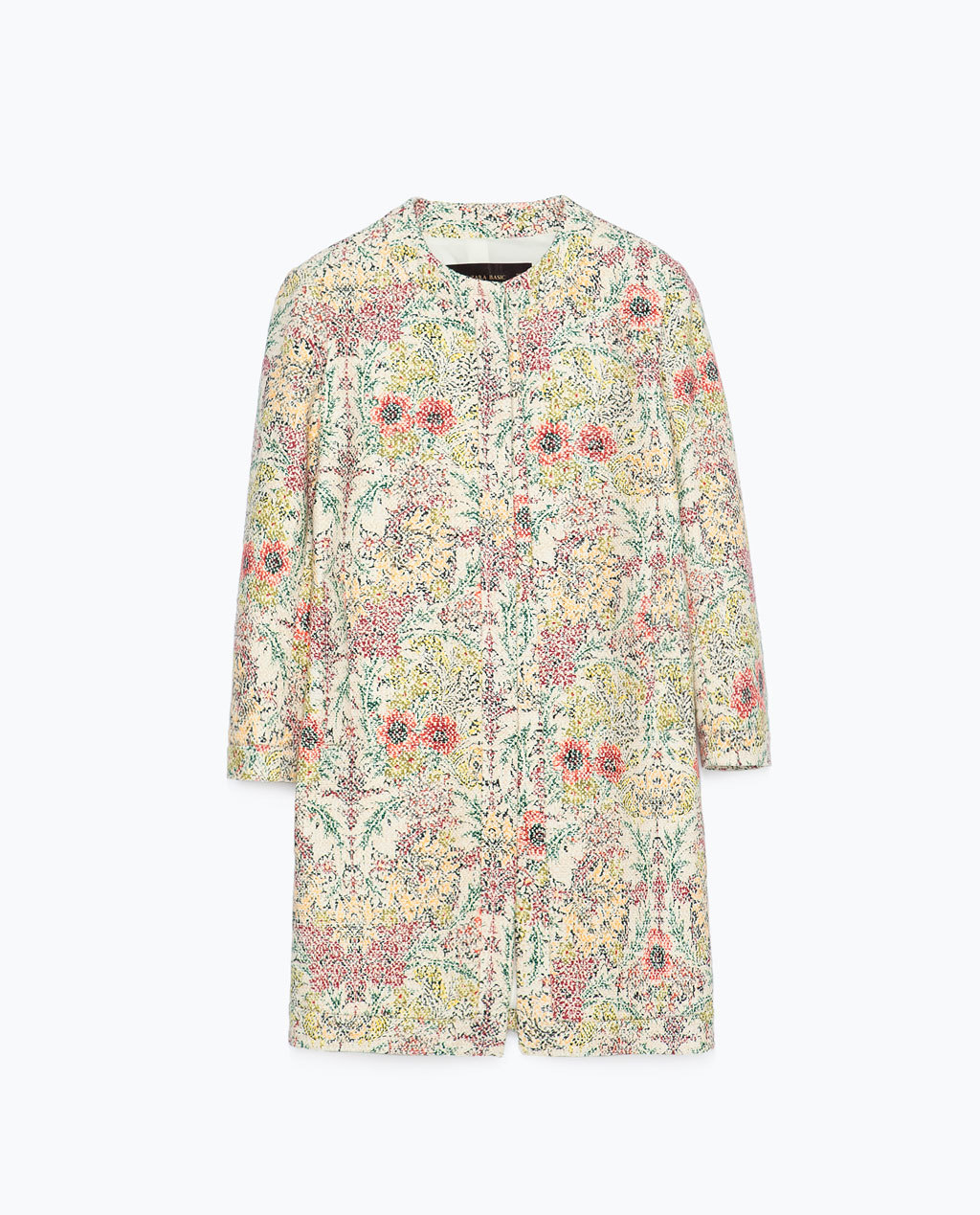 Printed Floral Coat - collar: round collar/collarless; style: single breasted; length: mid thigh; predominant colour: pink; secondary colour: nude; occasions: casual, creative work; fit: straight cut (boxy); fibres: cotton - 100%; sleeve length: long sleeve; sleeve style: standard; collar break: high; pattern type: fabric; pattern size: standard; pattern: florals; texture group: woven light midweight; season: s/s 2015; multicoloured: multicoloured; wardrobe: highlight
