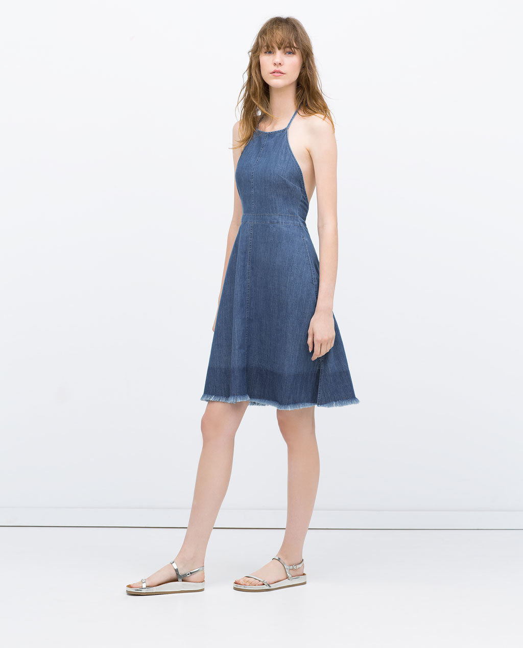 Halter Top Dress With Frayed Hem - sleeve style: spaghetti straps; pattern: plain; predominant colour: denim; occasions: casual, holiday; length: just above the knee; fit: fitted at waist & bust; style: fit & flare; fibres: cotton - 100%; sleeve length: sleeveless; texture group: denim; neckline: medium square neck; pattern type: fabric; season: s/s 2015; wardrobe: basic