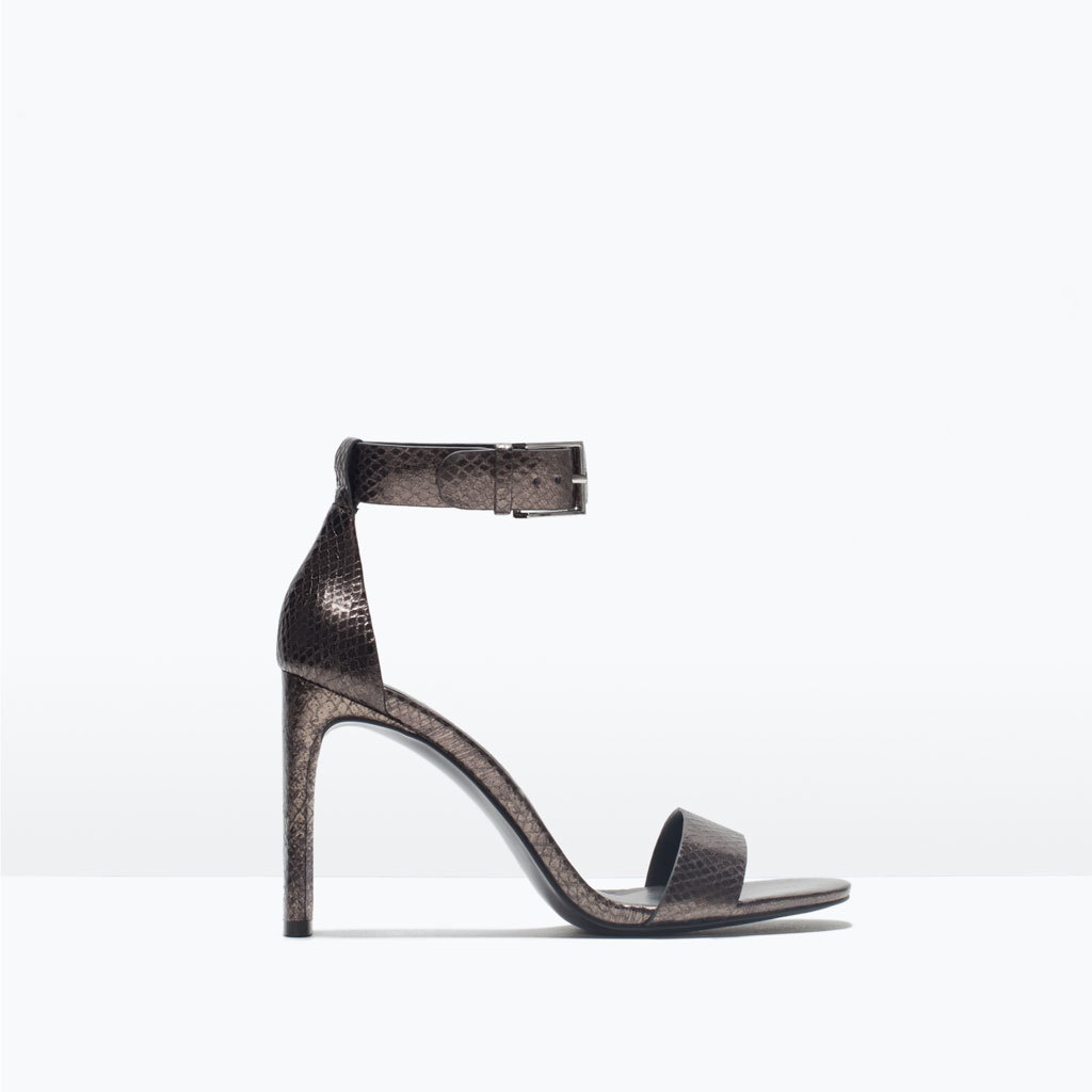 Leather High Heel Sandal With Ankle Strap - predominant colour: black; occasions: evening; material: leather; heel height: high; ankle detail: ankle strap; heel: stiletto; toe: open toe/peeptoe; style: strappy; finish: metallic; pattern: plain; season: s/s 2015