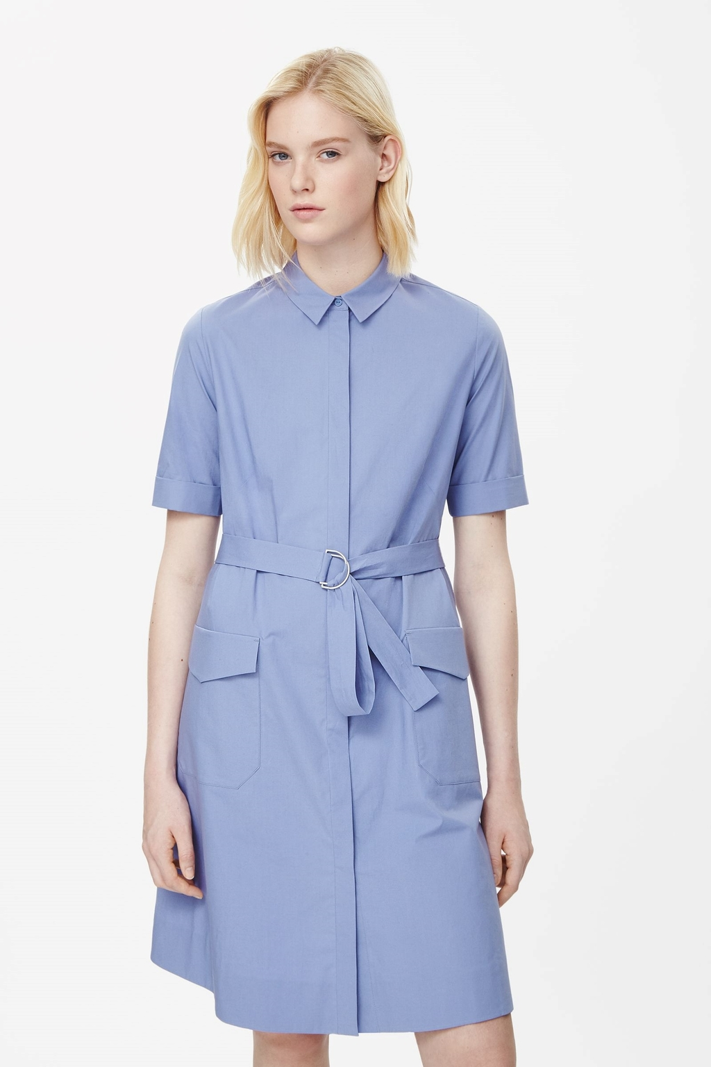 Belted Shirt Dress - style: shirt; neckline: shirt collar/peter pan/zip with opening; fit: fitted at waist; pattern: plain; waist detail: belted waist/tie at waist/drawstring; predominant colour: pale blue; occasions: casual, creative work; length: just above the knee; fibres: cotton - mix; sleeve length: short sleeve; sleeve style: standard; texture group: cotton feel fabrics; pattern type: fabric; season: s/s 2015; wardrobe: highlight