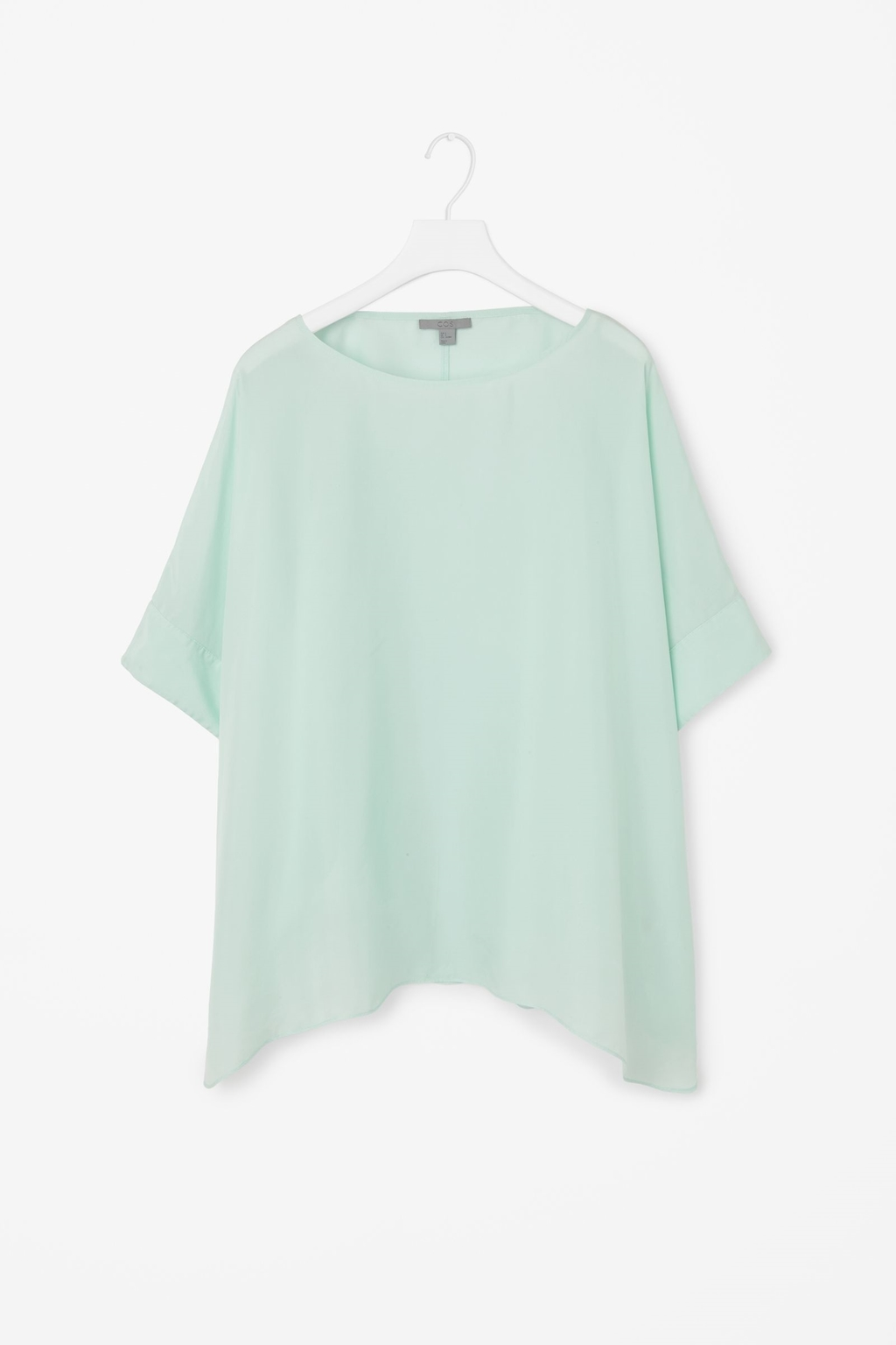 Oversized Silk Top - neckline: round neck; sleeve style: dolman/batwing; pattern: plain; predominant colour: pistachio; occasions: casual, evening, creative work; length: standard; style: top; fibres: silk - 100%; fit: loose; sleeve length: short sleeve; texture group: silky - light; pattern type: fabric; trends: floaty fantasies; season: s/s 2015; wardrobe: highlight
