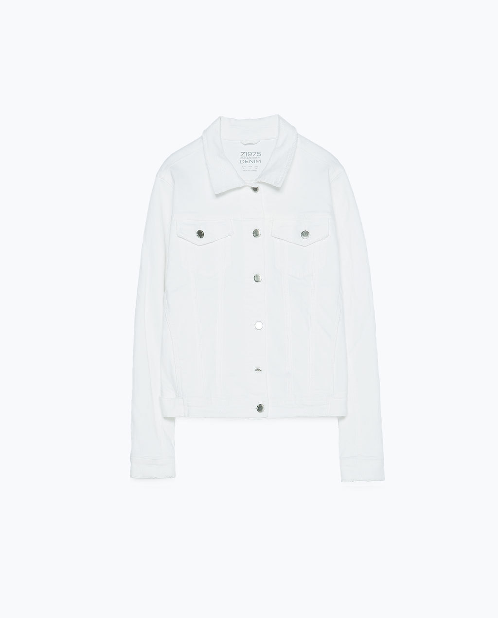 Denim Jacket - pattern: plain; style: denim; predominant colour: white; occasions: casual; length: standard; fit: straight cut (boxy); fibres: cotton - 100%; collar: shirt collar/peter pan/zip with opening; sleeve length: long sleeve; sleeve style: standard; texture group: denim; collar break: high/illusion of break when open; pattern type: fabric; season: s/s 2015; wardrobe: basic