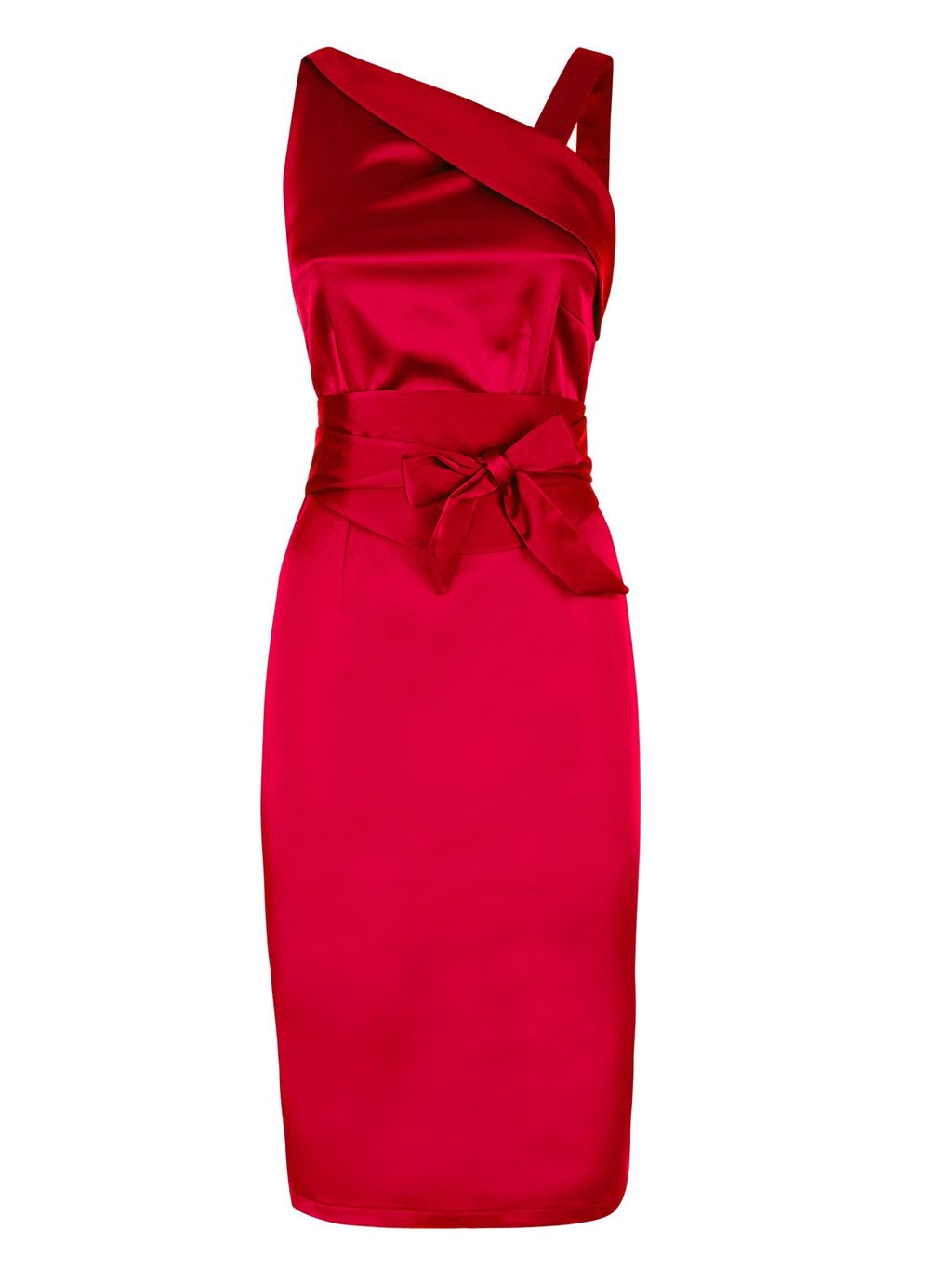 Kneelength Silk Dress, Red - style: shift; fit: tailored/fitted; pattern: plain; sleeve style: sleeveless; neckline: asymmetric; waist detail: belted waist/tie at waist/drawstring; length: on the knee; occasions: occasion; shoulder detail: asymmetric shoulder; sleeve length: sleeveless; texture group: structured shiny - satin/tafetta/silk etc.; pattern type: fabric; predominant colour: raspberry; season: s/s 2015; wardrobe: event
