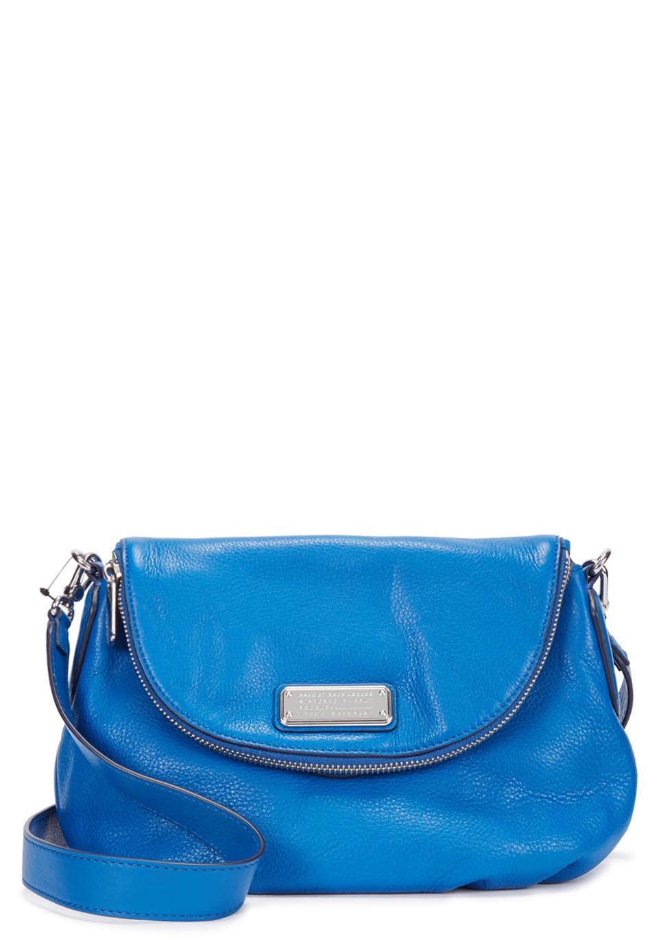 New Q Natasha Blue Leather Shoulder Bag - predominant colour: diva blue; occasions: casual, creative work; type of pattern: standard; style: saddle; length: across body/long; size: small; material: fabric; pattern: plain; finish: plain; season: s/s 2015; wardrobe: highlight