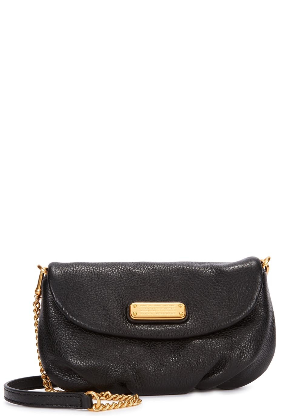 New Q Karlie Black Leather Shoulder Bag - predominant colour: black; occasions: casual, evening, creative work; type of pattern: standard; style: shoulder; length: shoulder (tucks under arm); size: small; material: leather; pattern: plain; finish: plain; embellishment: chain/metal; season: s/s 2015; wardrobe: investment
