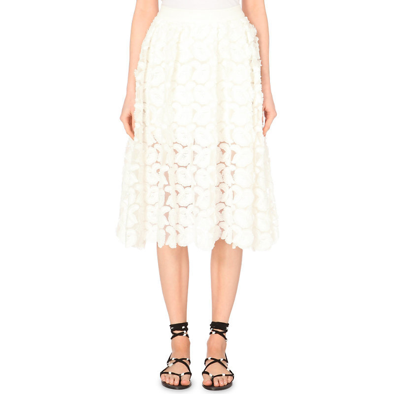 Jardin Embroidered Crepe Skirt, Women's, White - length: below the knee; pattern: plain; style: full/prom skirt; fit: loose/voluminous; waist: high rise; predominant colour: white; occasions: evening, occasion, creative work; fibres: polyester/polyamide - mix; hip detail: subtle/flattering hip detail; waist detail: feature waist detail; texture group: crepes; pattern type: fabric; embellishment: embroidered; season: s/s 2015; wardrobe: highlight; embellishment location: hem