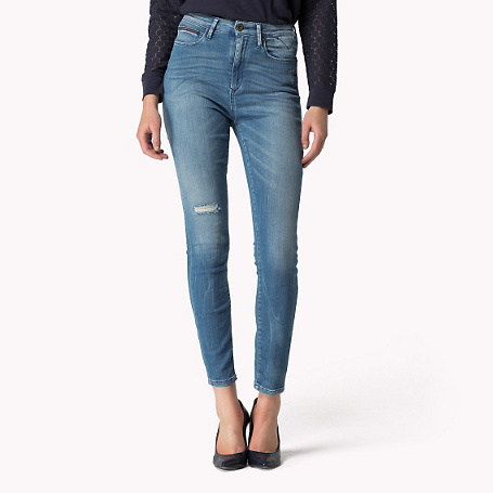 Skye Skinny Fit Jeans - style: skinny leg; pattern: plain; waist: high rise; pocket detail: traditional 5 pocket; predominant colour: denim; occasions: casual, creative work; length: ankle length; fibres: cotton - stretch; texture group: denim; pattern type: fabric; season: s/s 2015