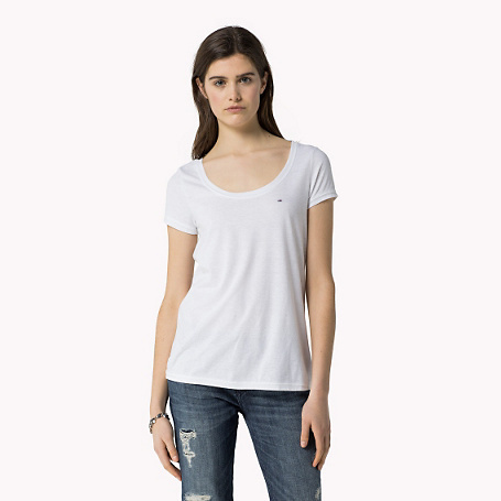 Leena Solid T Shirt - pattern: plain; style: t-shirt; predominant colour: ivory/cream; occasions: casual; length: standard; neckline: scoop; fibres: polyester/polyamide - stretch; fit: body skimming; sleeve length: short sleeve; sleeve style: standard; pattern type: fabric; texture group: jersey - stretchy/drapey; season: s/s 2015