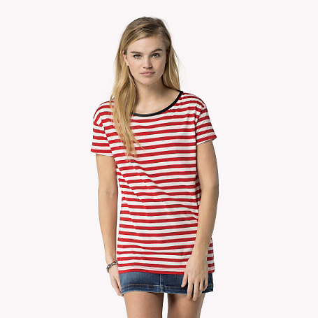 Vinna Striped T Shirt - neckline: round neck; pattern: horizontal stripes; style: t-shirt; secondary colour: white; predominant colour: true red; occasions: casual, creative work; length: standard; fibres: cotton - mix; fit: loose; sleeve length: short sleeve; sleeve style: standard; pattern type: fabric; pattern size: standard; texture group: jersey - stretchy/drapey; season: s/s 2015