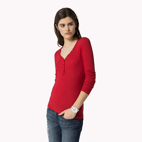 Lola Solid T Shirt - neckline: low v-neck; pattern: plain; style: t-shirt; predominant colour: true red; occasions: casual; length: standard; fibres: cotton - 100%; fit: body skimming; sleeve length: long sleeve; sleeve style: standard; pattern type: fabric; texture group: jersey - stretchy/drapey; season: s/s 2015; wardrobe: highlight; embellishment location: bust