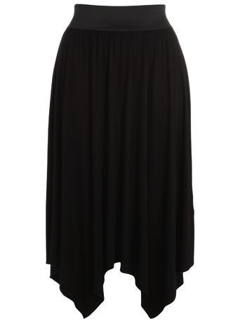 Black Hanky Hem Skirt - length: below the knee; pattern: plain; fit: loose/voluminous; waist detail: elasticated waist; waist: high rise; predominant colour: black; occasions: casual, evening, creative work; style: asymmetric (hem); fibres: viscose/rayon - stretch; hip detail: soft pleats at hip/draping at hip/flared at hip; pattern type: fabric; texture group: jersey - stretchy/drapey; season: s/s 2015; wardrobe: basic