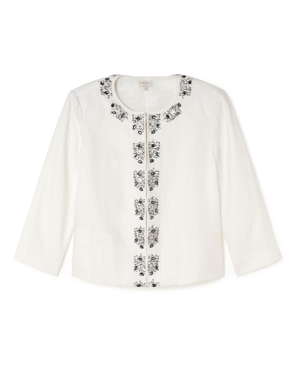 Victoire Jewelled Jacket, Cream - collar: round collar/collarless; style: boxy; predominant colour: ivory/cream; occasions: evening, occasion; length: standard; fit: straight cut (boxy); fibres: linen - 100%; sleeve length: 3/4 length; sleeve style: standard; collar break: high; pattern type: fabric; pattern size: light/subtle; pattern: patterned/print; texture group: woven light midweight; embellishment: embroidered; season: s/s 2015; wardrobe: event; embellishment location: bust