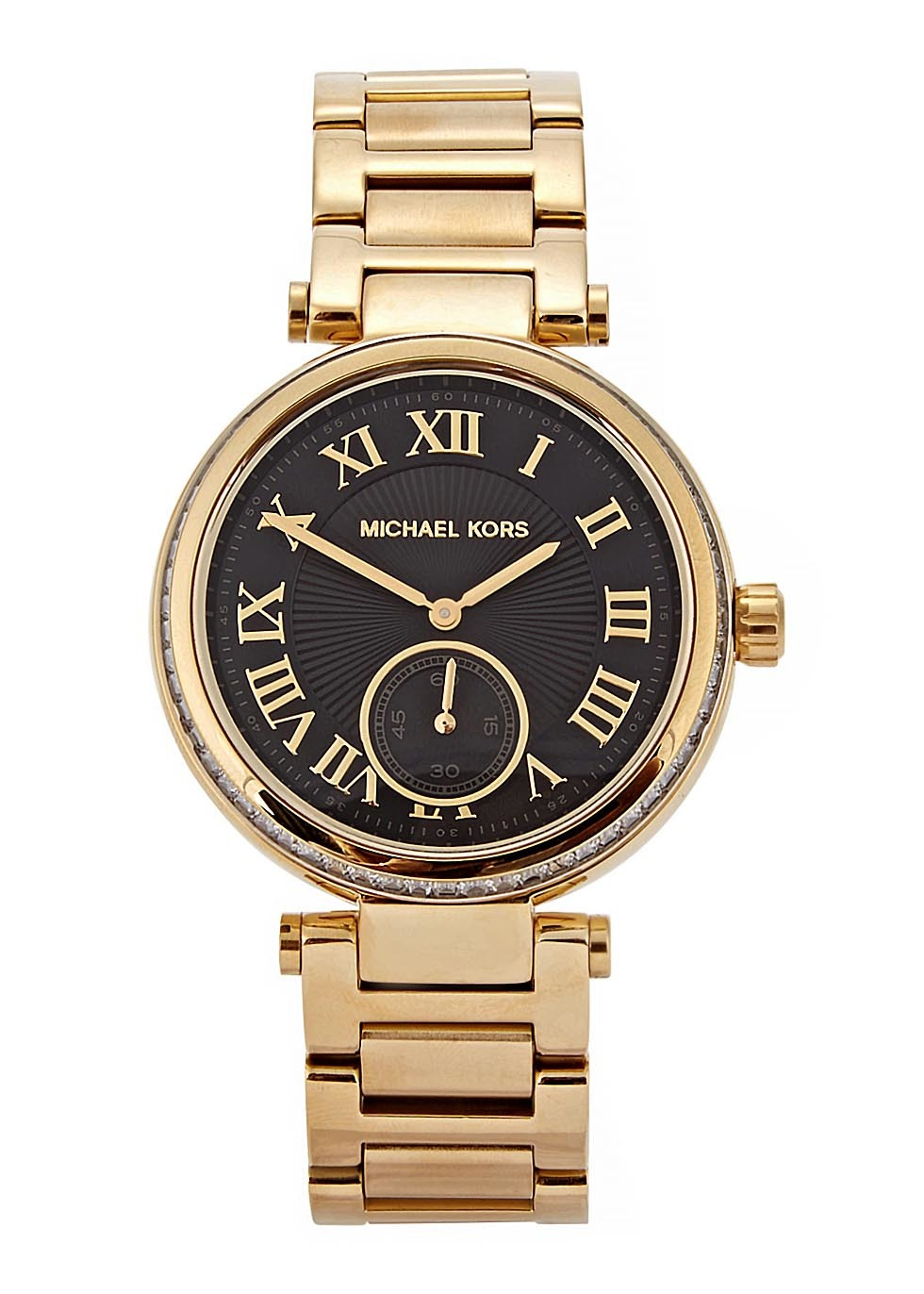 Skylar Gold Tone Stainless Steel Watch - predominant colour: gold; secondary colour: black; occasions: work, creative work; style: metal bracelet; size: large/oversized; material: chain/metal; finish: metallic; pattern: plain; season: s/s 2015