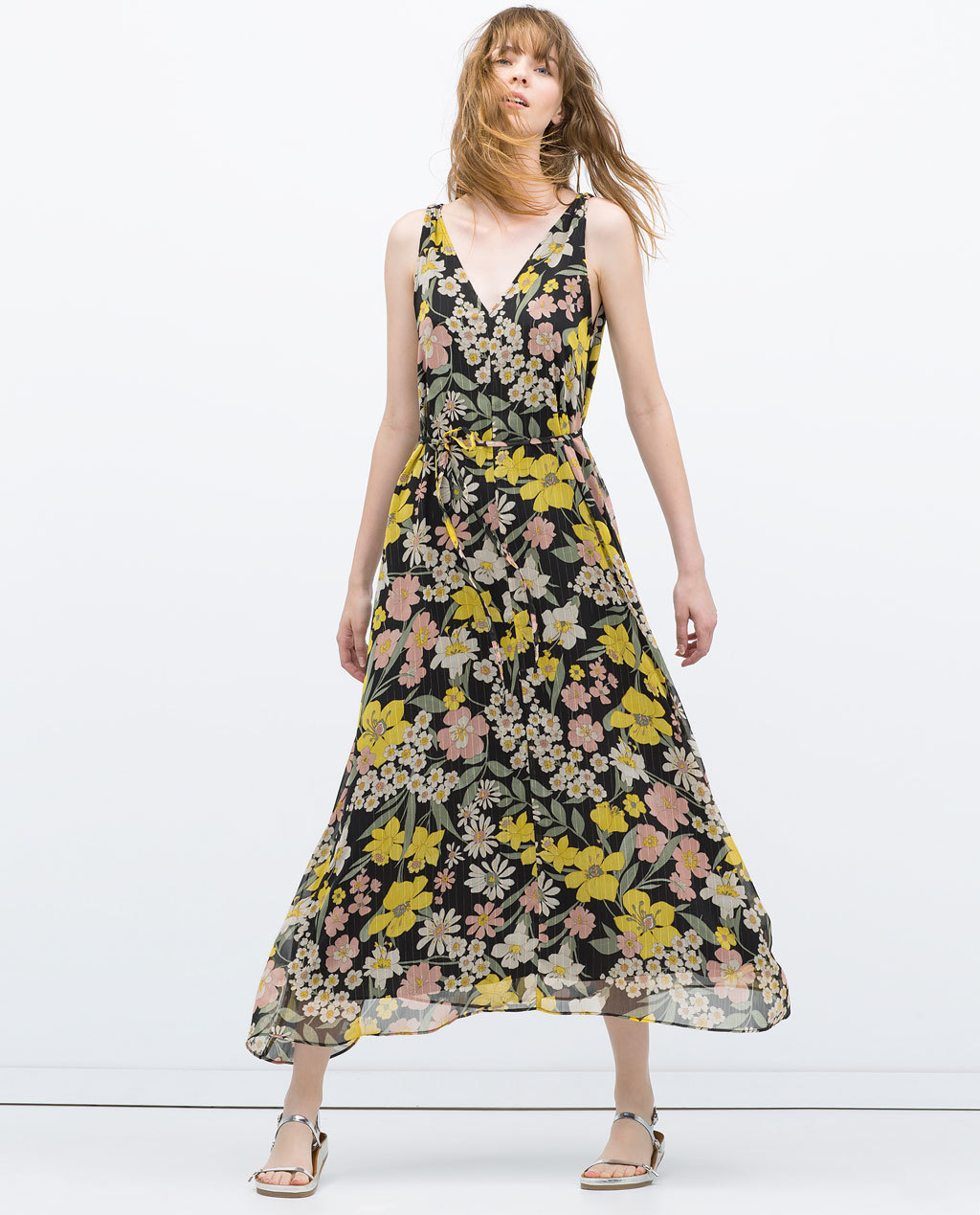 Long Printed Dress - style: faux wrap/wrap; neckline: low v-neck; sleeve style: sleeveless; length: ankle length; secondary colour: mustard; predominant colour: black; occasions: casual, occasion; fit: fitted at waist & bust; fibres: polyester/polyamide - 100%; hip detail: soft pleats at hip/draping at hip/flared at hip; sleeve length: sleeveless; texture group: sheer fabrics/chiffon/organza etc.; pattern type: fabric; pattern size: big & busy; pattern: florals; season: s/s 2015; multicoloured: multicoloured