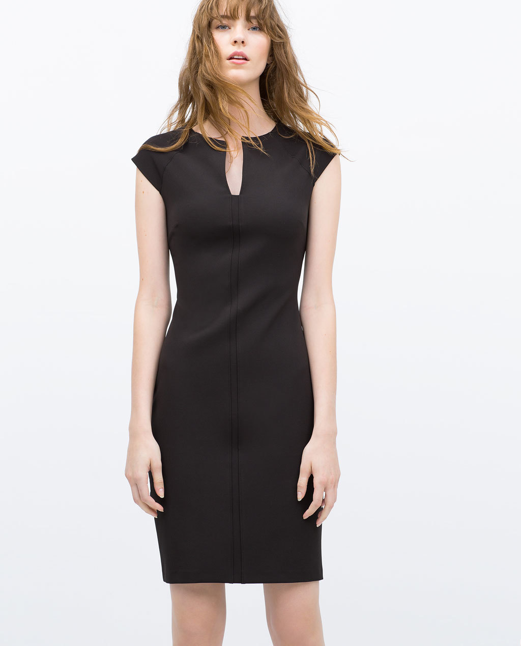 Tube Dress With Raglan Sleeves - style: shift; neckline: v-neck; sleeve style: capped; fit: tailored/fitted; pattern: plain; hip detail: fitted at hip; predominant colour: black; occasions: evening, work, occasion; length: just above the knee; fibres: polyester/polyamide - mix; sleeve length: short sleeve; pattern type: fabric; texture group: woven light midweight; season: s/s 2015; wardrobe: investment