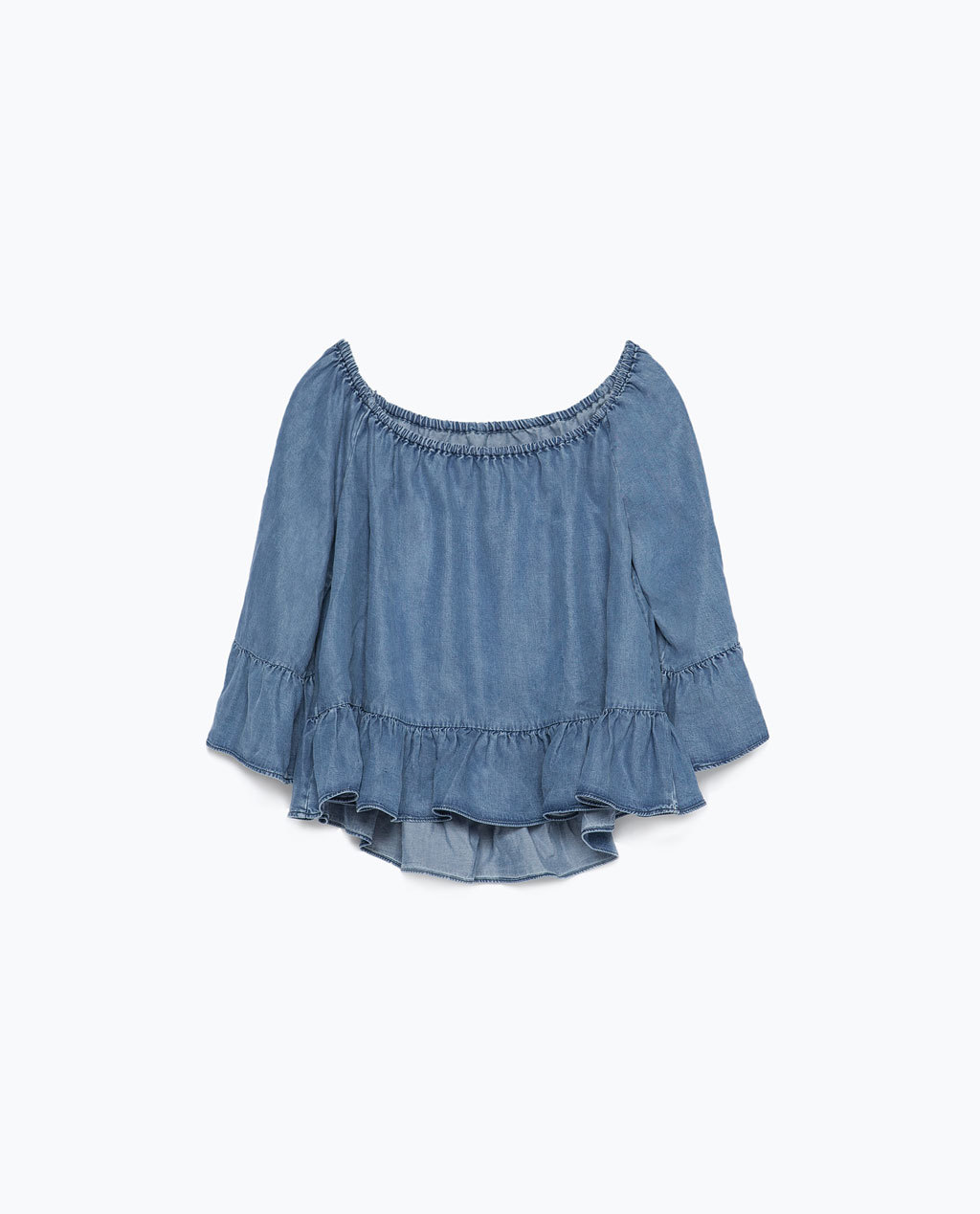 Elasticated Off The Shoulder Top - neckline: off the shoulder; pattern: plain; predominant colour: denim; occasions: casual; length: standard; style: top; fibres: cotton - stretch; fit: loose; sleeve length: 3/4 length; sleeve style: standard; texture group: denim; pattern type: fabric; season: s/s 2015; wardrobe: highlight