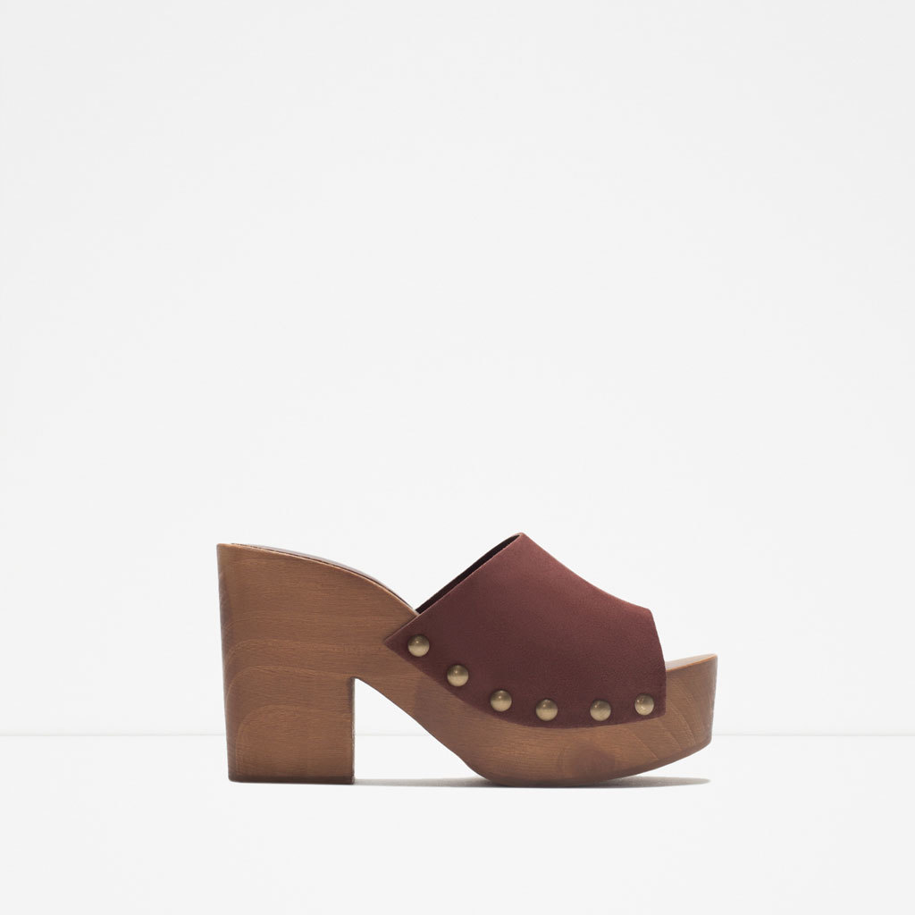 Leather Studded Clogs - predominant colour: chocolate brown; occasions: casual, creative work; material: leather; heel height: high; embellishment: studs; heel: block; toe: open toe/peeptoe; finish: plain; pattern: plain; shoe detail: platform; style: clogs; season: s/s 2015; wardrobe: highlight