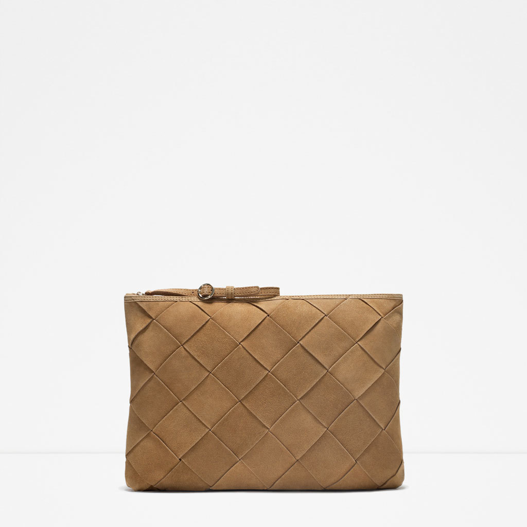 Plaited Suede Envelope - predominant colour: taupe; occasions: evening; type of pattern: standard; style: clutch; length: hand carry; size: standard; material: suede; pattern: plain; finish: plain; season: s/s 2015; wardrobe: event