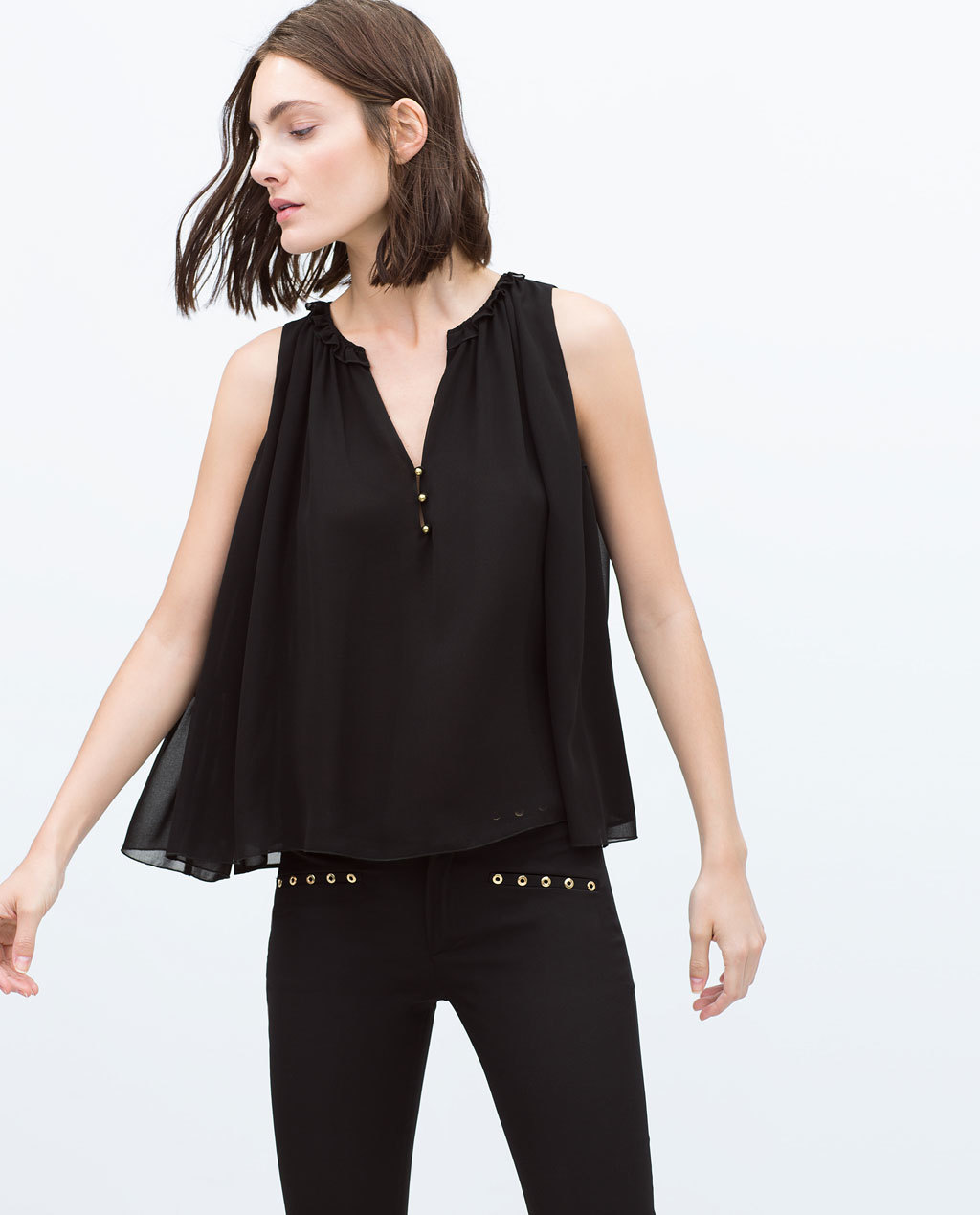Pleated Top - neckline: v-neck; pattern: plain; sleeve style: sleeveless; bust detail: buttons at bust (in middle at breastbone)/zip detail at bust; predominant colour: black; occasions: casual, evening, creative work; length: standard; style: top; fibres: polyester/polyamide - 100%; fit: loose; sleeve length: sleeveless; texture group: sheer fabrics/chiffon/organza etc.; pattern type: fabric; season: s/s 2015; wardrobe: basic