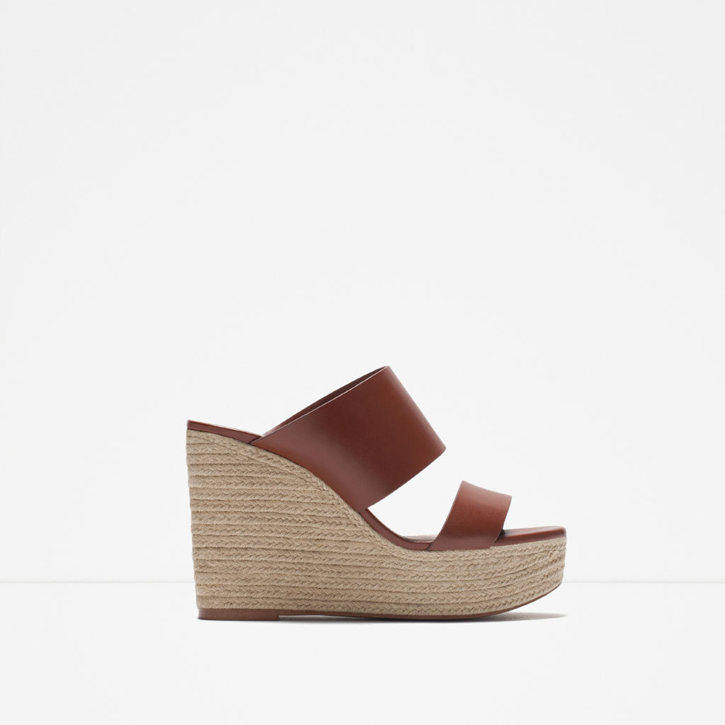 Low Wedge - predominant colour: tan; occasions: casual, holiday; material: faux leather; heel height: high; heel: wedge; toe: open toe/peeptoe; style: slides; finish: plain; pattern: plain; shoe detail: platform; season: s/s 2015; wardrobe: highlight