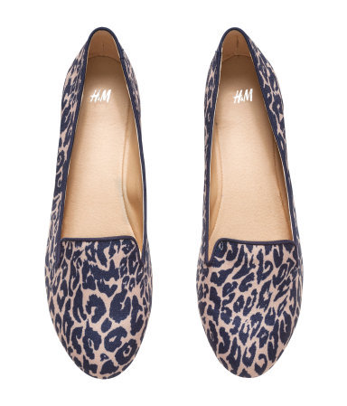 Loafers - secondary colour: blush; predominant colour: navy; occasions: casual, creative work; material: fabric; heel height: flat; toe: round toe; style: loafers; finish: plain; pattern: animal print; season: s/s 2015; wardrobe: highlight