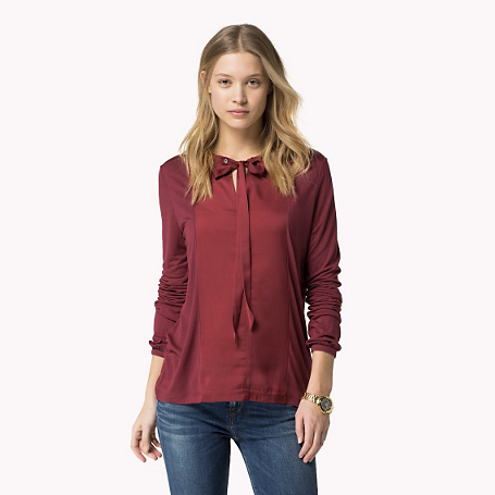 Juene Top - pattern: plain; neckline: pussy bow; style: blouse; predominant colour: burgundy; occasions: casual, work, creative work; length: standard; fibres: viscose/rayon - 100%; fit: straight cut; sleeve length: long sleeve; sleeve style: standard; pattern type: fabric; texture group: other - light to midweight; season: s/s 2015