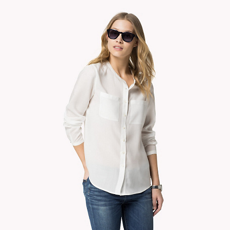 Clara Long Sleeve Blouse - neckline: round neck; pattern: plain; style: blouse; predominant colour: white; occasions: casual, work, creative work; length: standard; fibres: viscose/rayon - 100%; fit: straight cut; sleeve length: long sleeve; sleeve style: standard; texture group: crepes; pattern type: fabric; season: s/s 2015; wardrobe: basic