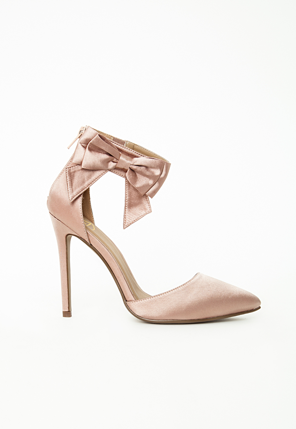 Ankle Strap Bow Detail Court Shoes, Pink - predominant colour: nude; occasions: evening, occasion; material: satin; heel height: high; ankle detail: ankle strap; heel: stiletto; toe: pointed toe; style: courts; finish: plain; pattern: plain; embellishment: bow; season: s/s 2015; wardrobe: event