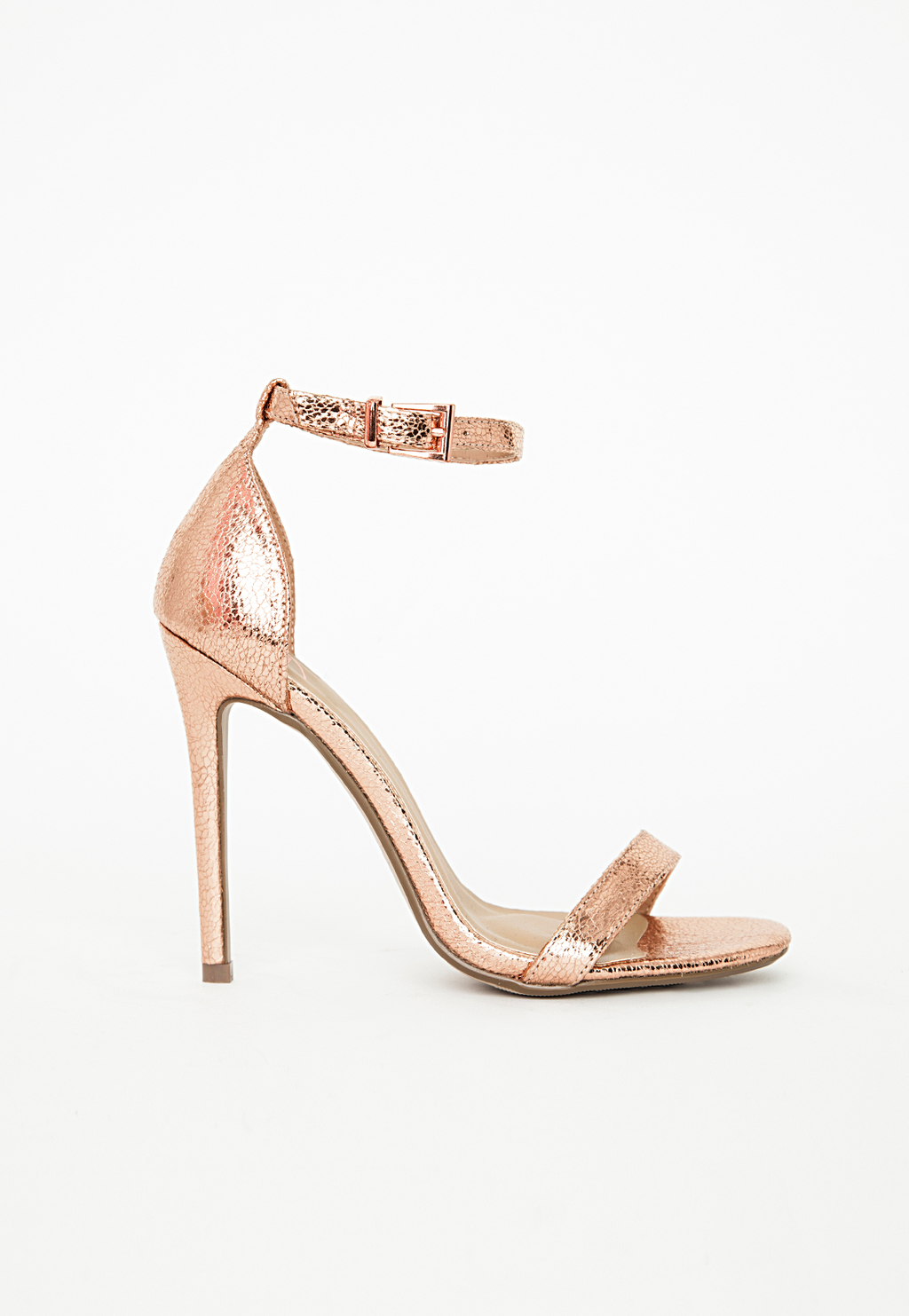 Barely There Ankle Strap Sandal Rose Gold Metalic, Red - predominant colour: gold; occasions: evening, occasion; material: faux leather; heel height: high; ankle detail: ankle strap; heel: stiletto; toe: open toe/peeptoe; style: strappy; finish: metallic; pattern: plain; season: s/s 2015