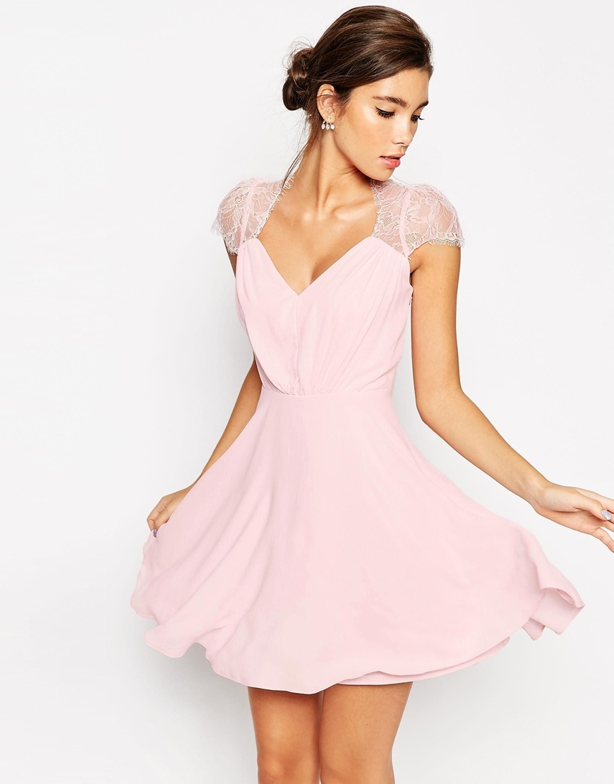 Kate Lace Mini Dress Nude - length: mid thigh; neckline: low v-neck; sleeve style: capped; pattern: plain; style: prom dress; predominant colour: pink; occasions: evening, occasion; fit: fitted at waist & bust; fibres: polyester/polyamide - 100%; sleeve length: short sleeve; texture group: sheer fabrics/chiffon/organza etc.; pattern type: fabric; embellishment: lace; season: s/s 2015; wardrobe: event; embellishment location: shoulder