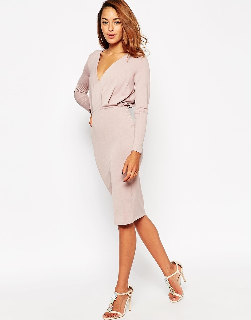 Jersey Crepe Deep Plunge Midi Dress Mink - style: shift; length: below the knee; neckline: low v-neck; fit: fitted at waist; pattern: plain; predominant colour: taupe; occasions: evening, occasion; sleeve length: long sleeve; sleeve style: standard; pattern type: fabric; texture group: jersey - stretchy/drapey; season: s/s 2015; wardrobe: event