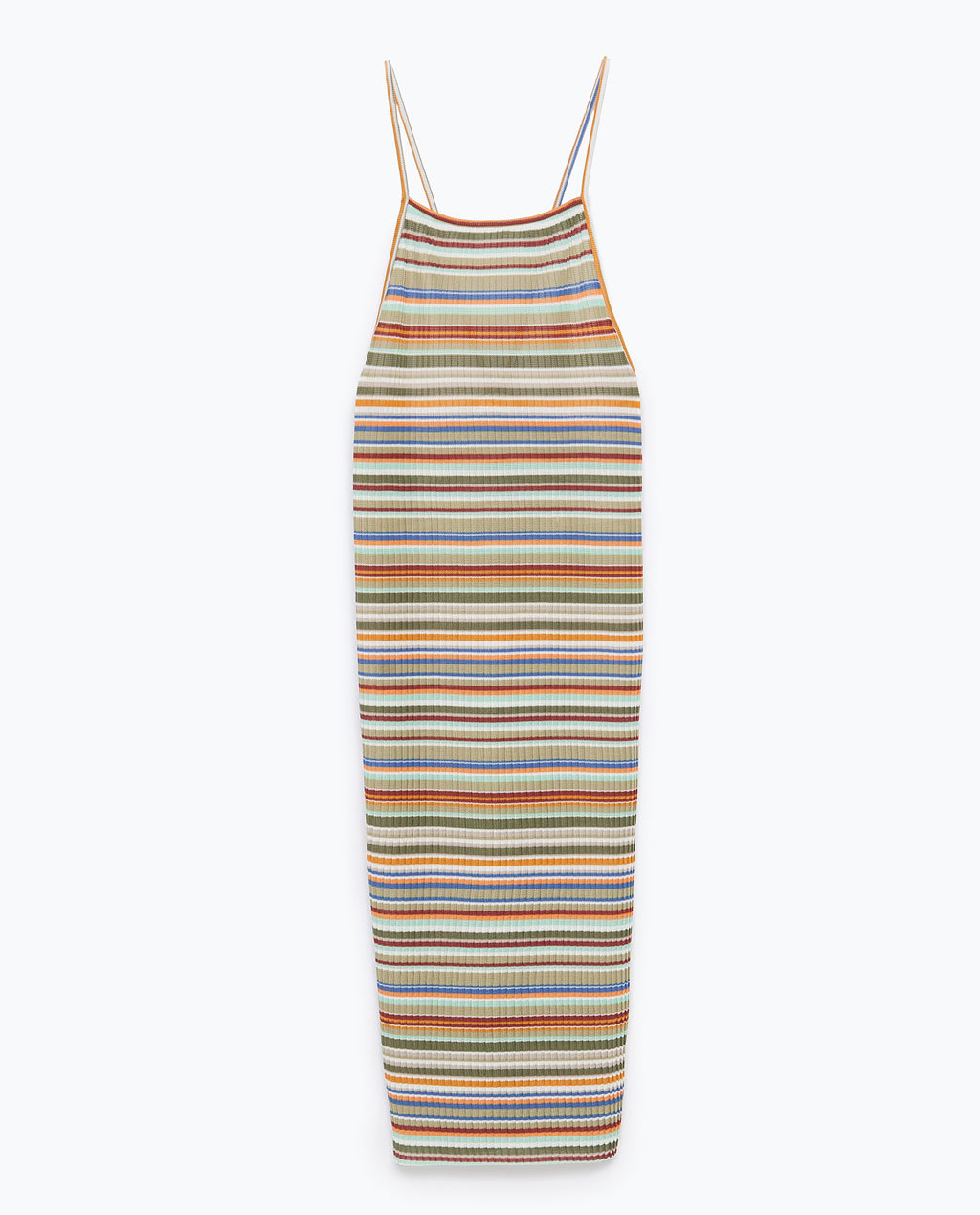 Striped Dress With Pleats - length: calf length; sleeve style: spaghetti straps; pattern: horizontal stripes; back detail: back revealing; secondary colour: diva blue; predominant colour: khaki; occasions: casual; fit: body skimming; style: slip dress; fibres: polyester/polyamide - 100%; sleeve length: sleeveless; texture group: jersey - clingy; neckline: low square neck; pattern type: fabric; pattern size: big & busy; season: s/s 2015; multicoloured: multicoloured; wardrobe: highlight