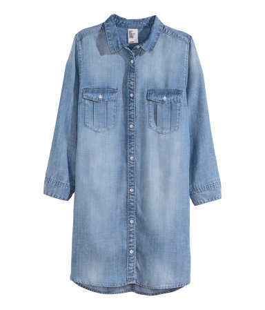 Long Denim Shirt - neckline: shirt collar/peter pan/zip with opening; pattern: plain; style: shirt; predominant colour: denim; occasions: casual; fibres: cotton - 100%; fit: straight cut; length: mid thigh; sleeve length: long sleeve; sleeve style: standard; texture group: denim; bust detail: bulky details at bust; pattern type: fabric; season: s/s 2015; wardrobe: basic