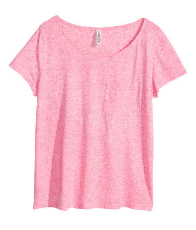 Top - neckline: round neck; pattern: plain; predominant colour: pink; occasions: casual; length: standard; style: top; fibres: cotton - 100%; fit: loose; sleeve length: short sleeve; sleeve style: standard; pattern type: fabric; texture group: jersey - stretchy/drapey; season: s/s 2015; wardrobe: highlight