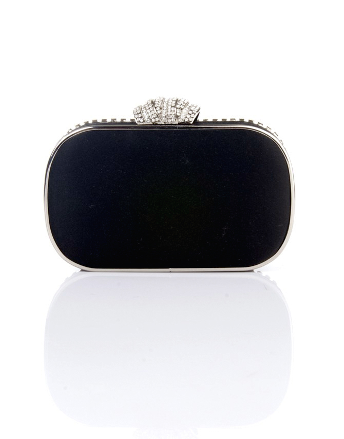 Sally Clutch Bag - predominant colour: black; occasions: evening, occasion; style: clutch; length: hand carry; size: small; material: fabric; embellishment: crystals/glass; pattern: plain; finish: metallic; season: s/s 2015; wardrobe: event
