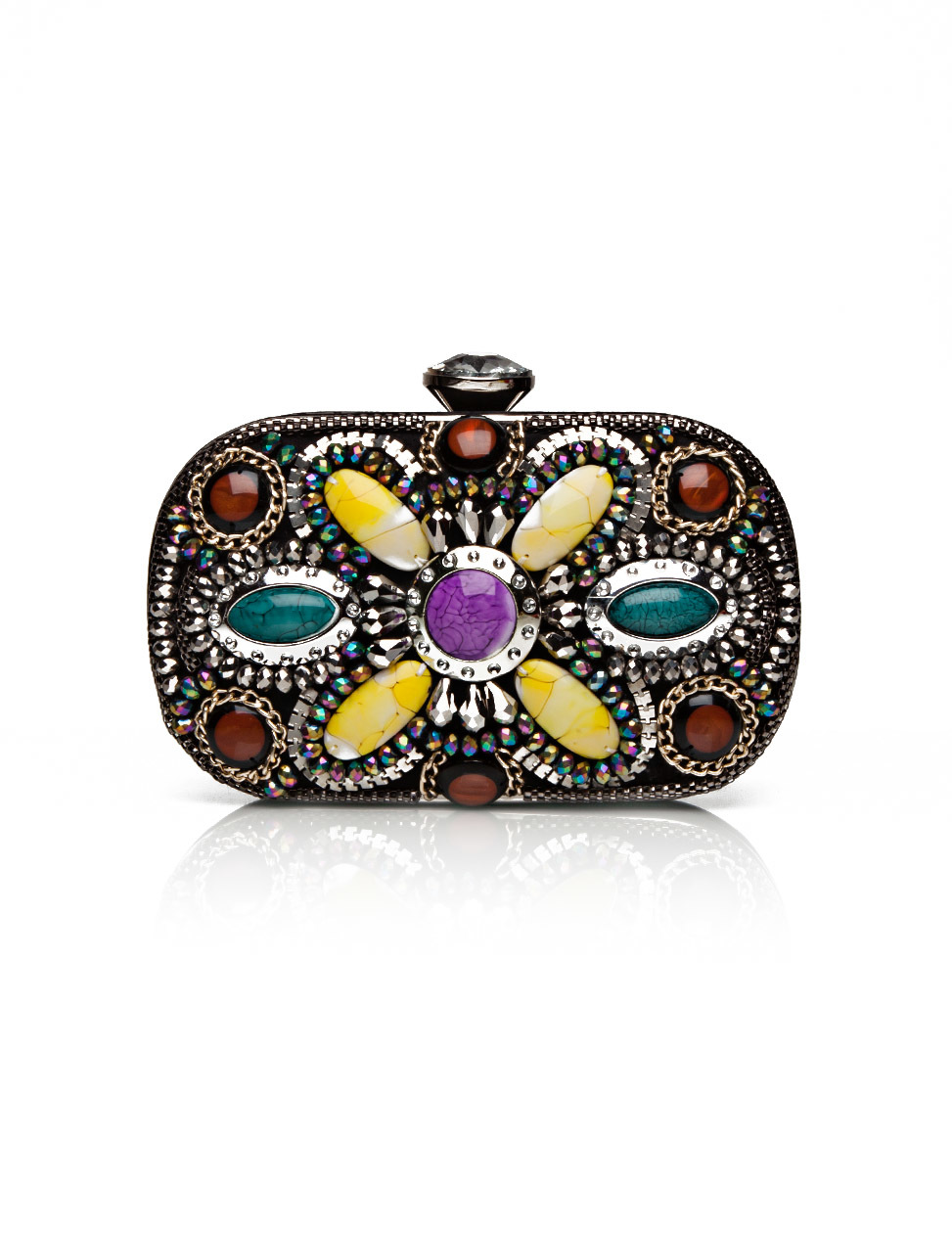 Paolina Evening Bag - predominant colour: burgundy; secondary colour: black; occasions: evening, occasion; type of pattern: heavy; style: clutch; length: hand carry; size: small; material: fabric; pattern: plain; finish: metallic; embellishment: jewels/stone; season: s/s 2015; multicoloured: multicoloured; wardrobe: event