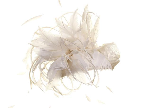 Megan Ivory - predominant colour: ivory/cream; occasions: occasion; type of pattern: standard; embellishment: feathers; style: fascinator; size: standard; material: fabric; pattern: plain; season: s/s 2015; wardrobe: event