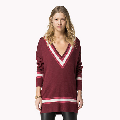 Gina Sweater - neckline: low v-neck; pattern: horizontal stripes; length: below the bottom; style: tunic; secondary colour: white; predominant colour: burgundy; occasions: casual, creative work; fit: standard fit; sleeve length: long sleeve; sleeve style: standard; texture group: knits/crochet; pattern type: knitted - other; fibres: viscose/rayon - mix; season: s/s 2015; pattern size: big & busy (top); multicoloured: multicoloured; wardrobe: highlight