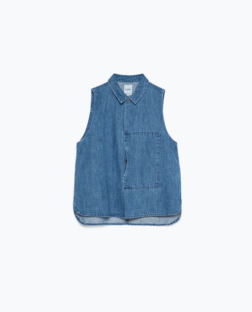 Denim Shirt - neckline: shirt collar/peter pan/zip with opening; pattern: plain; sleeve style: sleeveless; style: shirt; predominant colour: denim; occasions: casual; length: standard; fibres: cotton - mix; fit: straight cut; sleeve length: sleeveless; texture group: denim; pattern type: fabric; season: s/s 2015; wardrobe: basic