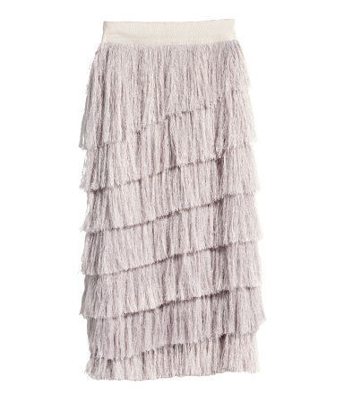 Fringed Skirt In A Lyocell Mix - pattern: plain; style: pencil; fit: body skimming; waist: mid/regular rise; predominant colour: stone; occasions: evening, occasion; length: on the knee; hip detail: adds bulk at the hips; waist detail: feature waist detail; pattern type: fabric; texture group: other - light to midweight; embellishment: fringing; fibres: viscose/rayon - mix; season: s/s 2015; wardrobe: event; embellishment location: all over
