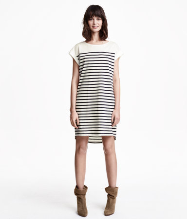 T Shirt Dress - style: t-shirt; sleeve style: capped; pattern: horizontal stripes; predominant colour: ivory/cream; secondary colour: black; occasions: casual, creative work; length: just above the knee; fit: body skimming; fibres: cotton - 100%; neckline: crew; sleeve length: short sleeve; pattern type: fabric; pattern size: standard; texture group: jersey - stretchy/drapey; season: s/s 2015; wardrobe: basic