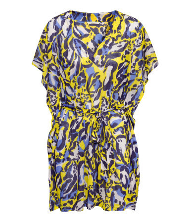 Beach Dress - length: mid thigh; neckline: low v-neck; sleeve style: angel/waterfall; fit: fitted at waist; style: sundress; waist detail: belted waist/tie at waist/drawstring; secondary colour: navy; predominant colour: yellow; occasions: casual, holiday; fibres: polyester/polyamide - 100%; sleeve length: short sleeve; pattern type: fabric; pattern size: big & busy; pattern: patterned/print; texture group: jersey - stretchy/drapey; season: s/s 2015; wardrobe: highlight