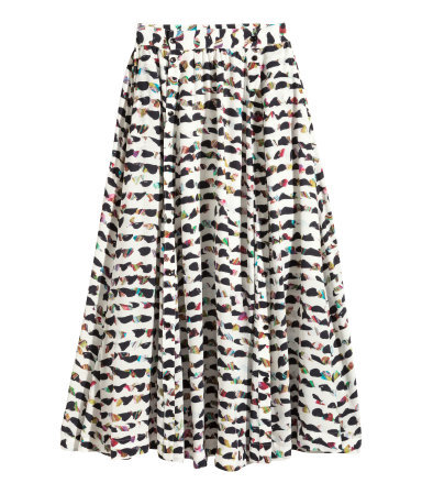 Patterned Skirt - length: calf length; style: full/prom skirt; fit: loose/voluminous; waist: mid/regular rise; predominant colour: white; secondary colour: chocolate brown; occasions: casual, creative work; fibres: viscose/rayon - 100%; pattern type: fabric; pattern: patterned/print; texture group: woven light midweight; season: s/s 2015; multicoloured: multicoloured; wardrobe: highlight