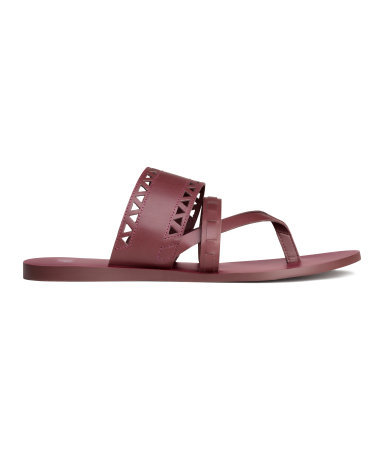 Leather Sandals - predominant colour: burgundy; occasions: casual, holiday; material: leather; heel height: flat; heel: standard; toe: toe thongs; style: slides; finish: plain; pattern: plain; season: s/s 2015; wardrobe: highlight