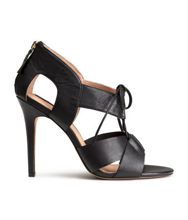 Leather Sandals - predominant colour: black; occasions: evening; material: leather; heel height: high; heel: stiletto; toe: open toe/peeptoe; style: standard; finish: plain; pattern: plain; season: s/s 2015; wardrobe: event